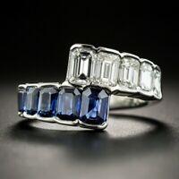 925 Sterling Silver Emerald Cut 4CT Sapphire Gemstone & White CZ Women Band Ring