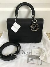 NWT Auth Christian Dior Be Dior Black Bullcalf Top Handle Flap Bag Handbag $4400