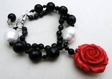 Bracciale agata nera, perle barocche madreperla rose rosse Onyx pearls bracelet