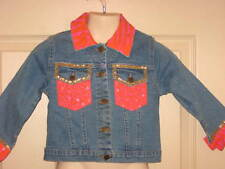 Havengirl Girls Jean Denim Jacket Sequins Orange Pink Animal Print Sz 3 NWT