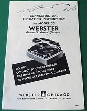 Webster Electric Model 55 Automatic Record Changer Operating Instructions