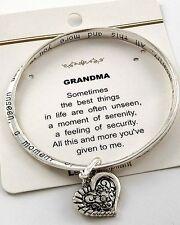 Grandma Grandmother Nana Grammy Family Love Heart Mobius Twisted Bracelet #157-B