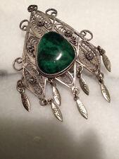 Vintage Sterling Silver 935 Precious Eilat Malachite Green Stone Pin Pendant