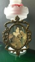 Vintage Italian made Ornate Oval Brass Frame Italian Photo of Victorian Boy