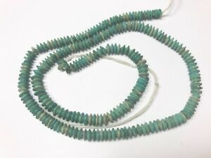 """16"""" 100% Natural 3MM Turquoise Rare Matte finish Faceted Roundelles Beads  T513"""