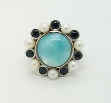 925 Sterling Silver 18 mm Larimar Black Spinel Pearl Floral Band Ring Size 6