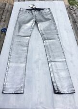 Juicy Couture Genuine Women's Silver Foil Coated Skinny Jeans Size 27 NEW NWT