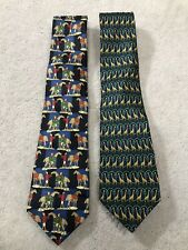 Two Vintage THOMAS PINK SILK NECKTIES - Horses And Giraffes