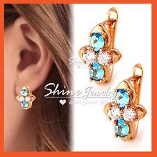 9K CHAMPAGNE GOLD GF BLUE GEM AQUAMARINE CRYSTAL HOOP DRESS EARRINGS XMAS GIFT