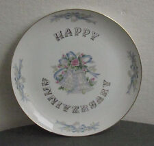 LEFTON CHINA HAND PAINTED HAPPY ANNIVERSARY PLATE DISPLAY DISH PASTELS METALLIC