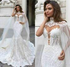 Elegant White Wedding Dresses Mermaid Bridal Gowns Lace 2018 Custom Train Ivory