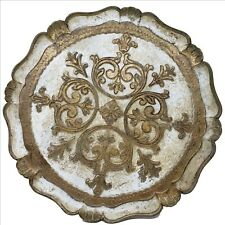 """Vintage NASHCO New York Hand Painted 15-1/2"""" Round Gold Florentine Serving Tray"""
