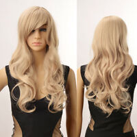 Chic Women Blonde Wig Long Curly Wavy Full Wigs Cosplay Party Side Bang Hair