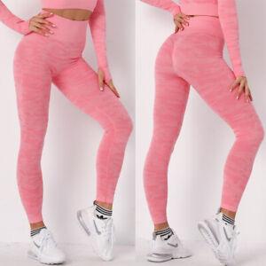 Womens Seamless Yoga Suit Crop Top & Pants Leggings Set Fitness Sports Gym Slim