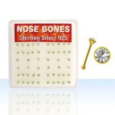 Nasenstecker 925 Silber vergoldet Gelbgold Kristall Klar 2 mm Nasenpiercing