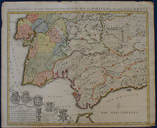 ALGARVE ANDALUSIEN  Portugal/ Spanien Landkarte v. Covens/ Mortier 1724 Original