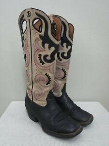 TONY LAMA BUCKAROO 8.5 Black Leather Cutout Pink Tall Western Cowboy Boots Heels