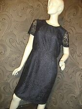 NEW * JOHN LEWIS * NAVY ALL OVER LACE KNEE LENGTH SHEATH DRESS SIZE 12 RRP £89