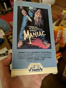 Maniac VHS 1981 HORROR Media Home Entertainment Joe Spinell  flaps intact MINT!