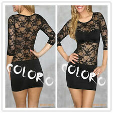 Lace Short/Mini Party 3/4 Sleeve Dresses for Women