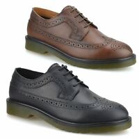 Mens Leather Brogues Casual Smart Lace Up Formal Oxford Work Office Shoes Size