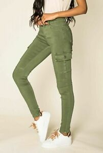 Ladies Cargo Pants Skinny Stretch Women's Jeans Green khaki   6 8 10 12 14