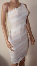 VICKY MARTIN nude ivory lace fitted one shoulder mini dress 8 10 BNWT wedding