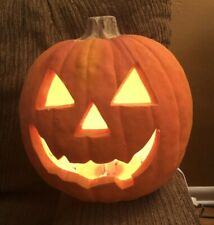 """Vintage Spooky 1993 Trendmasters Lighted Pumpkin Jack O Lantern 11"""" Halloween"""
