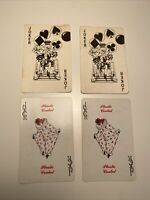 Vintage Joker Playing Cards Clown Plastic Coated Aries Lot of 4 Jester Red Black