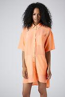 Topshop BOUTIQUE Apricot Pure Silk Oversize Shirt Dress UK 8 10 EU 36 38 US 4 6