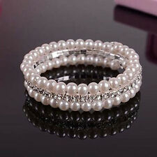 Glamor 2 Rows White Faux Pearls Bangle Bracelet For Women Rhinestone Stretch