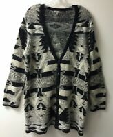 J. Jill Cardigan Sweater Long Textured Sz L Tribal Aztec Print Lagen Look Button