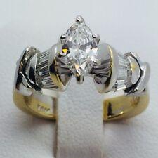 14Kt 2 Tones Gold, Marquis Diamond, 1 Ct TW Diamonds, 5.40 Grams, Size 6