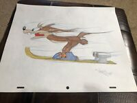 Virgil Ross Sketch - Wile E Coyote Flying On Skis. Signed 12.5x10.5""