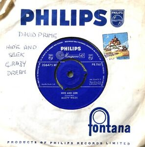 """MARTY WILDE HIDE AND SEEK 1961 PHILIPS 7"""" SINGLE VINYL RECORD FULLY PLAY TESTED"""