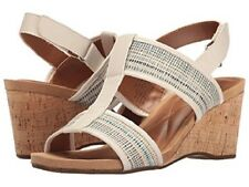 "Easy Spirit Lalani wedge sandals off white print 3"" heels sz 6.5 Med NEW"