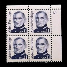US Plate Blocks Stamps #1854 ~ 1985 ALDEN PARTRIDGE 11c Plate Block MNH