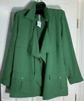 NY collection Women plus size 2X Open cardigan Topper Blazer jacket Green New