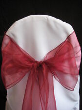 """200 Red Chair Sashes 9"""" x 108"""" Shimmery Organza Wedding Decorations Ties Bows"""