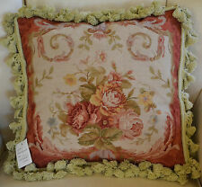 "16"" French Country Style Handmade PetitPoint Needlepoint Pillow w/Tassel WM-42"