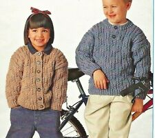 "1474 BOYS GIRLS CHUNKY JUMPER & CARDIGAN KNITTING PATTERN 22-30"" 56-76cm"