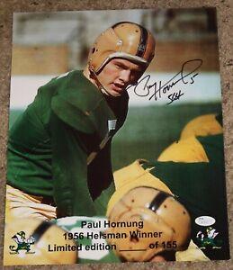PAUL HORNUNG Notre Dame 1956 Heisman signed 11x14 photo in action Ltd Ed  JSA