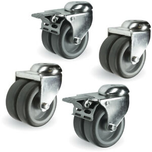 Set of 4 - 50mm Dia, Thermoplastic Rubber - 2 Swivel, 2 with total stop brake