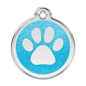 Red Dingo Dog ID Pet Tag FREE Personalized Engraved~GLITTER PAW PRINT