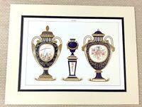 1988 Stampa Antico Francese Porcellana Blu Dorato Palazzo Di Versailles Cina