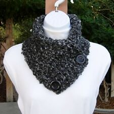 Dark & Light Gray NECK WARMER SCARF with Buttons, Thick Crochet Knit Winter Cowl