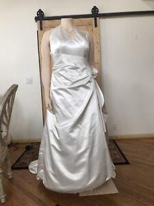 DAVID'S BRIDAL Ivory Champagne Halter Wedding Dress Plus Sz 20W  Preowned