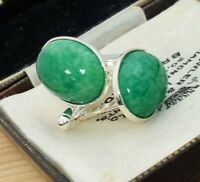 Vintage - CZECH 1950s Green Peking Marble Glass - Oval Silver Plated Cufflinks