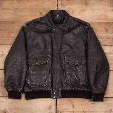 "Mens Vintage A2 Type Black Sherpa Leather Pilot Bomber Jacket XL 48"" R12037"