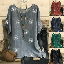 UK Womens Oversized Dandelion Print Tops Ladies Summer Cotton Linen Blouse Shirt